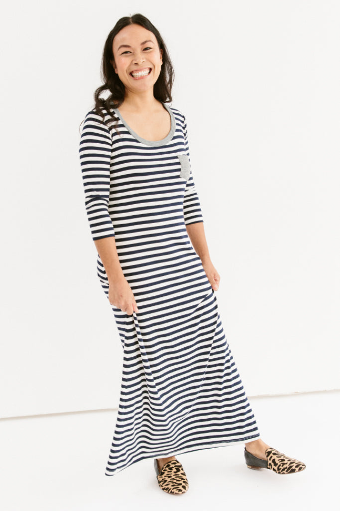 Sonnet James - Teddy - Casual Maxi Dress With Accent Pocket - Dress