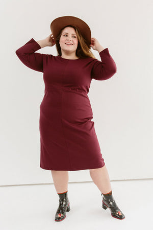 Sonnet James - Winnie - Straight knee-length everyday dress - Dress,Maroon