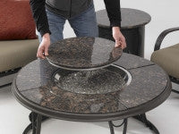 "42"" Granite Firepit Table with Lazy Susan Cover"