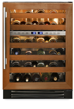 "True 24"" Dual-Zone Wine Cabinet Overlay Glass Door, Left hinge"