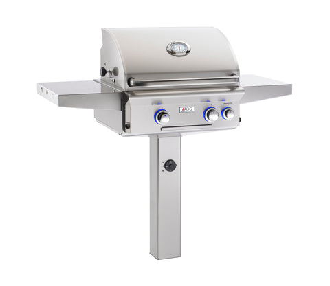 "AOG 24"" In-Ground Post / Patio Post Mount Grill, L-Series w/ Interior Lights"