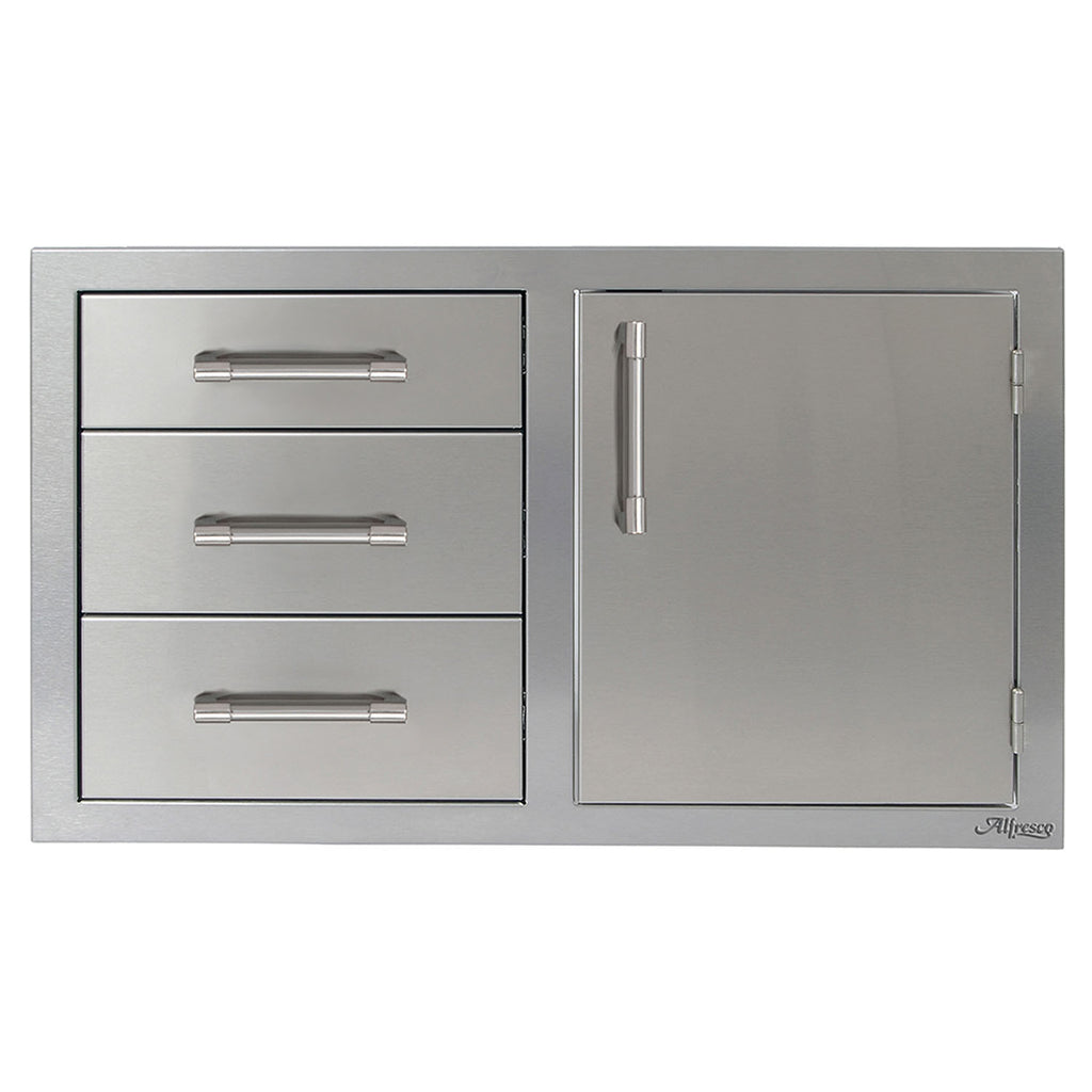 "Alfresco 32"" Combo Unit - 3 Drawers with Single Door on Left"