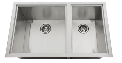 "Sunstone Over/Under 34"" x 12"" Height Double Basin Sink with 2 Covers"
