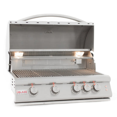 "Blaze 32"" LTE 4-Burner Gas Grill w/ Infrared Rear Burner & Lights"