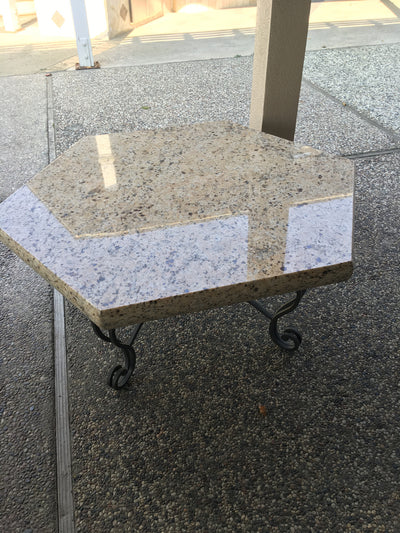 39 1/2in. Dia. Tan Granite Accent Table - Clearance ( 1 left )