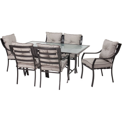 Lavallette 7-pc Dining Set (Glass Table + 6 Cushion Chairs) - LAVALLETTE7PC - Grey