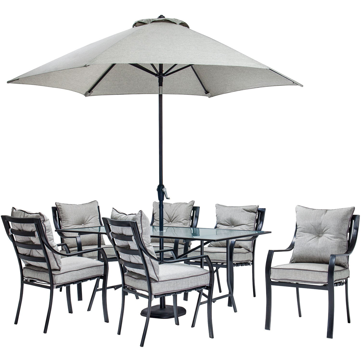 Miraculous Lavallette 7Pc Dining Set Glass Table 6 Cushion Chairs Umbrella Base Lavdn7Pc Su Grey Pdpeps Interior Chair Design Pdpepsorg