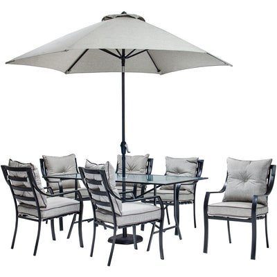 Lavallette 7pc Dining Set: Glass Table, 6 Cushion Chairs, Umbrella/Base - LAVDN7PC-SU - Grey