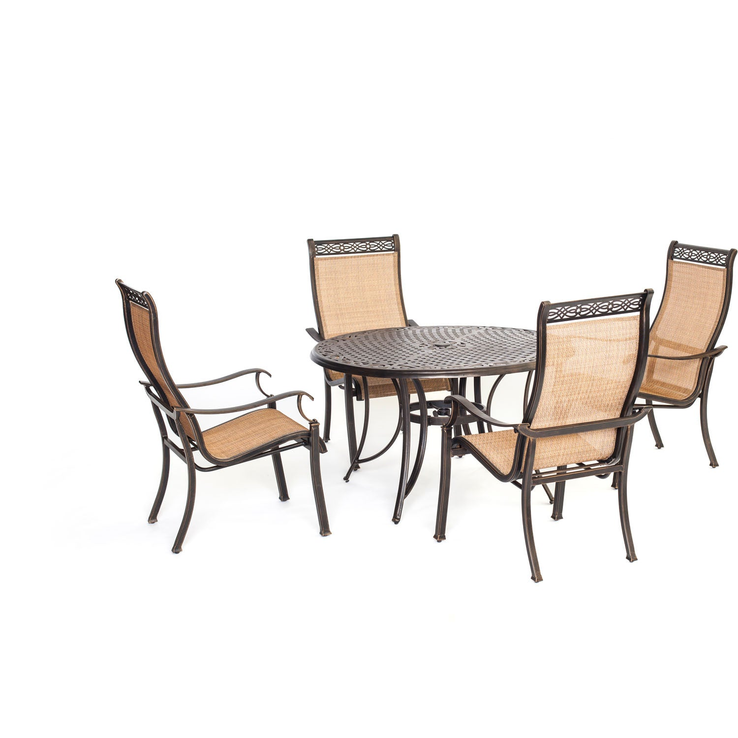 Manor 5pc Dining Set One 48 Round Cast Table 4 Sling Back Dining