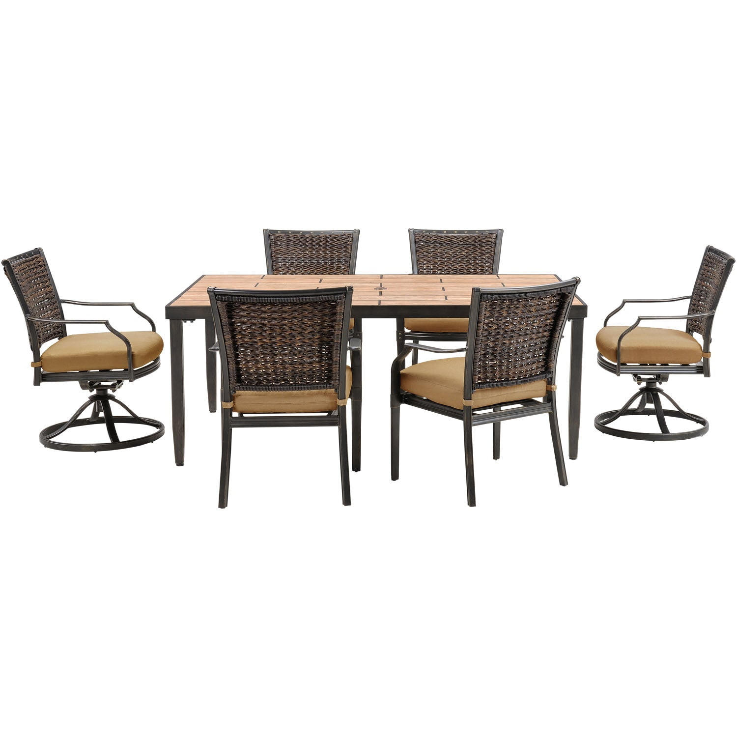 Magnificent Mercer7Pc Dining Set Porcelain Tile Top Table 2 Swivel Chairs 4 Dining Chairs Mercdn7Pcsw Tan Tile Tan Squirreltailoven Fun Painted Chair Ideas Images Squirreltailovenorg