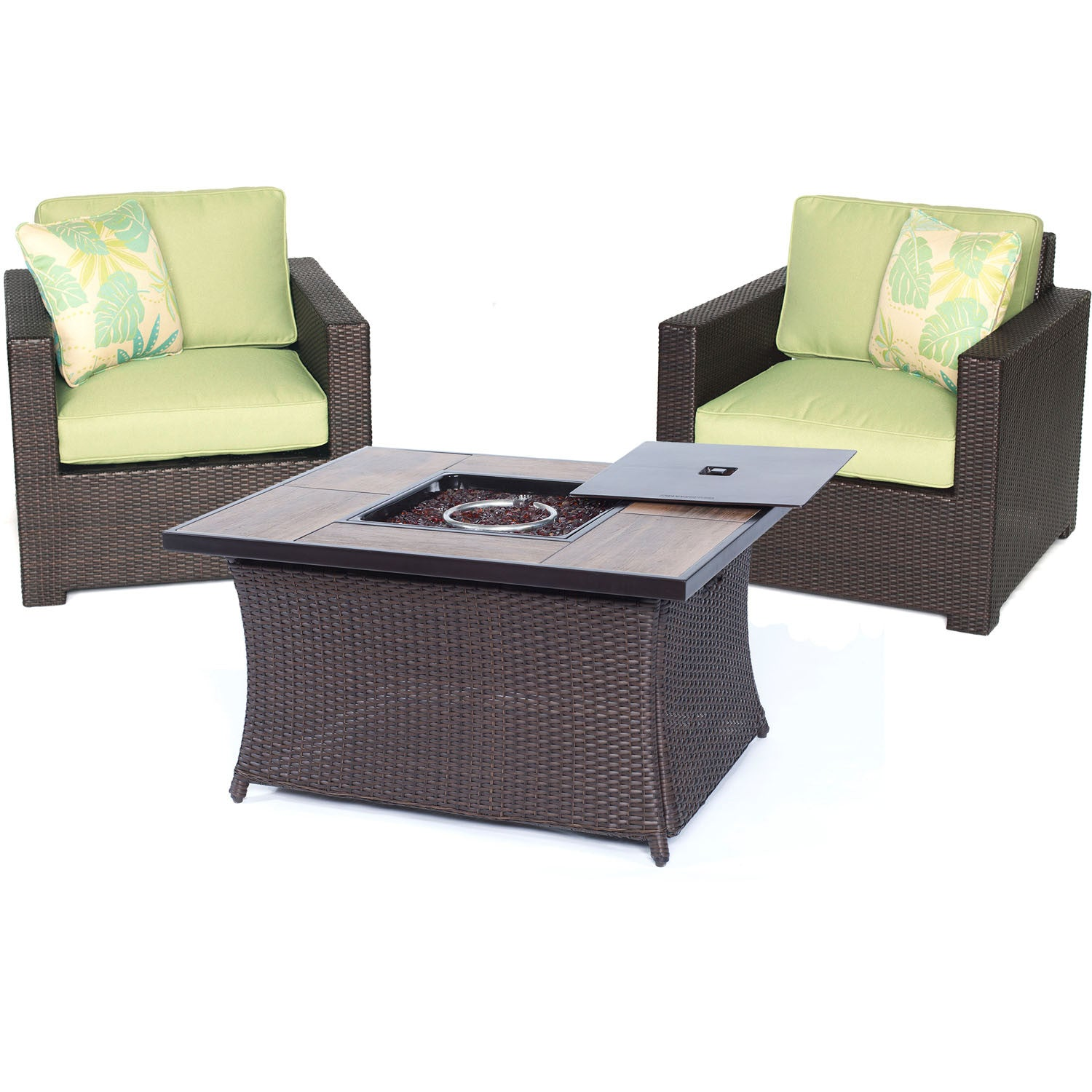 Metro3pc Fire Pit Set 2 Deep Seating Side Chairs Woven Fire Pit