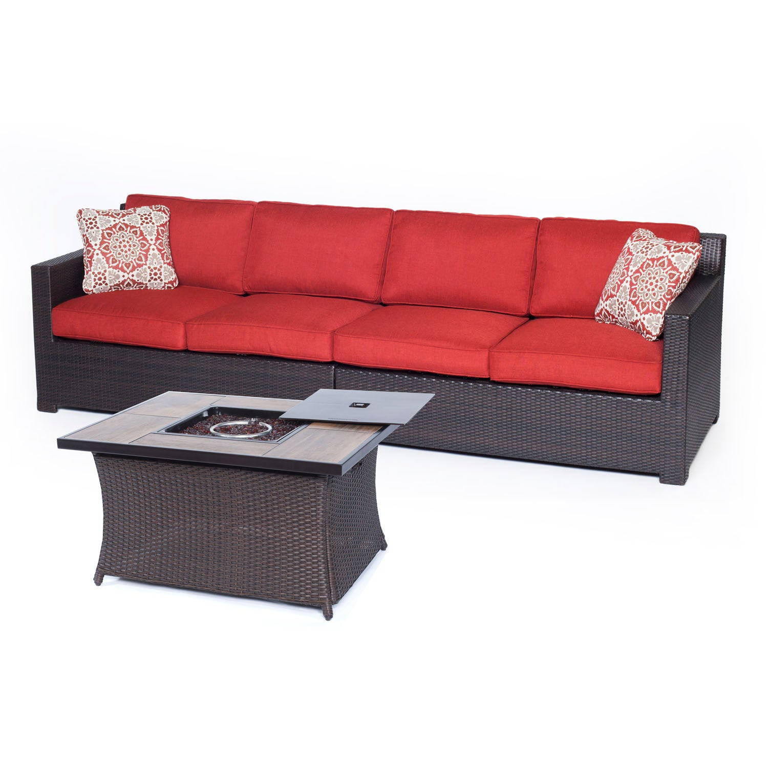 Prime Metro3Pc Fire Pit Set Loveseat Woven Fire Pit Coffee Table With Wood Grain Tile Metro3Pcfp Bry A Brown Berry Unemploymentrelief Wooden Chair Designs For Living Room Unemploymentrelieforg