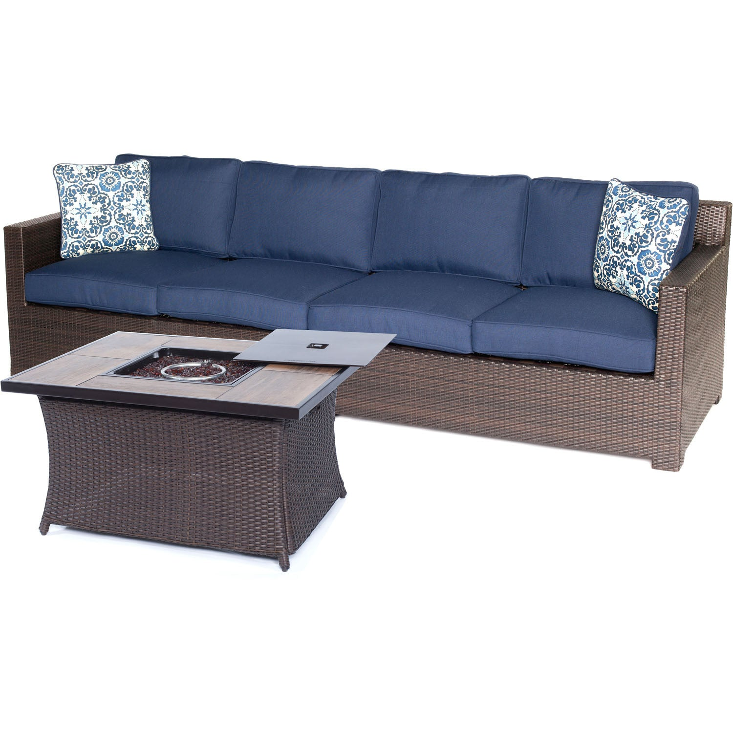 Surprising Metro3Pc Fire Pit Set Loveseat Woven Fire Pit Coffee Table With Wood Grain Tile Metro3Pcfp Nvy A Brown Navy Unemploymentrelief Wooden Chair Designs For Living Room Unemploymentrelieforg