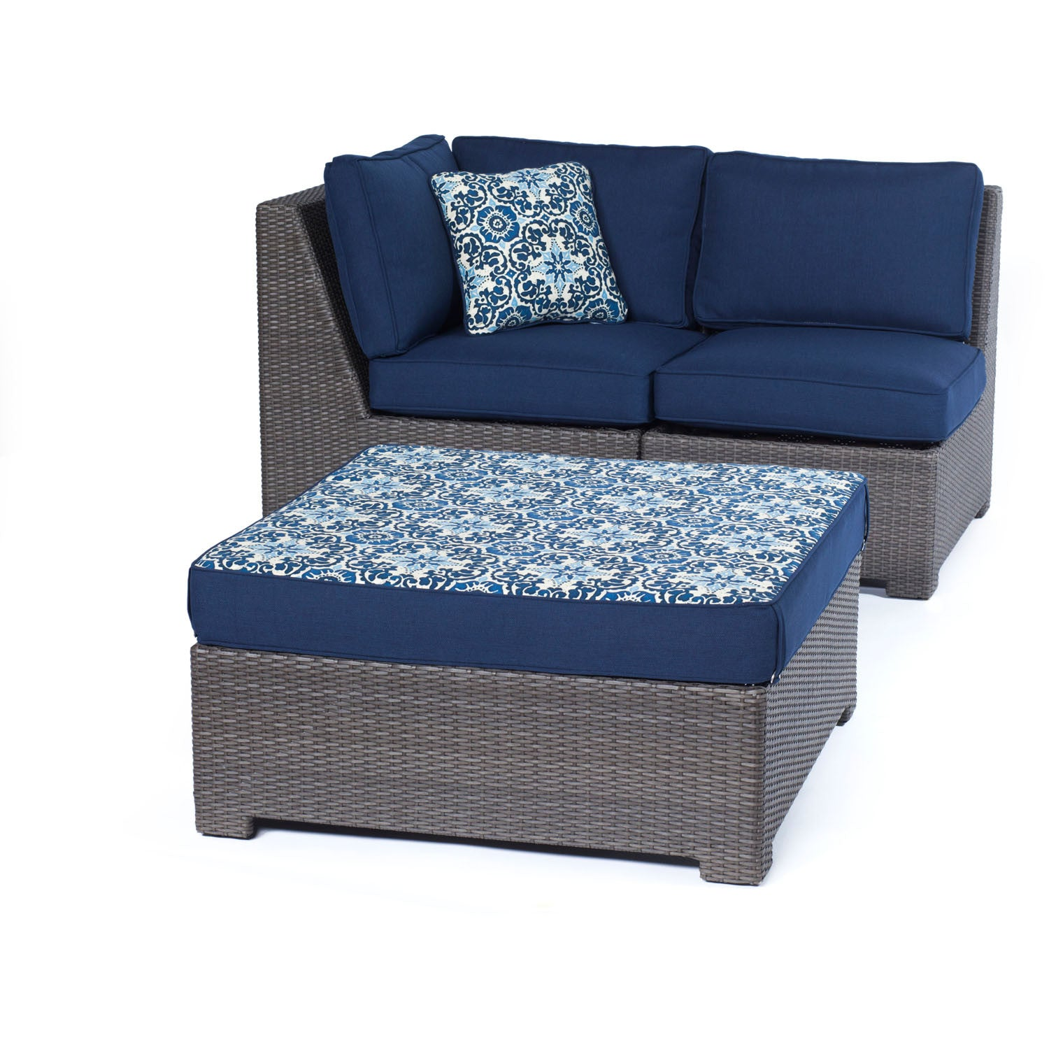 Metro5pc Seating Set: Loveseat, Corner Chair, Armless Chair, Reversible  Ottoman   METRO5PC G NVY   Grey/Navy