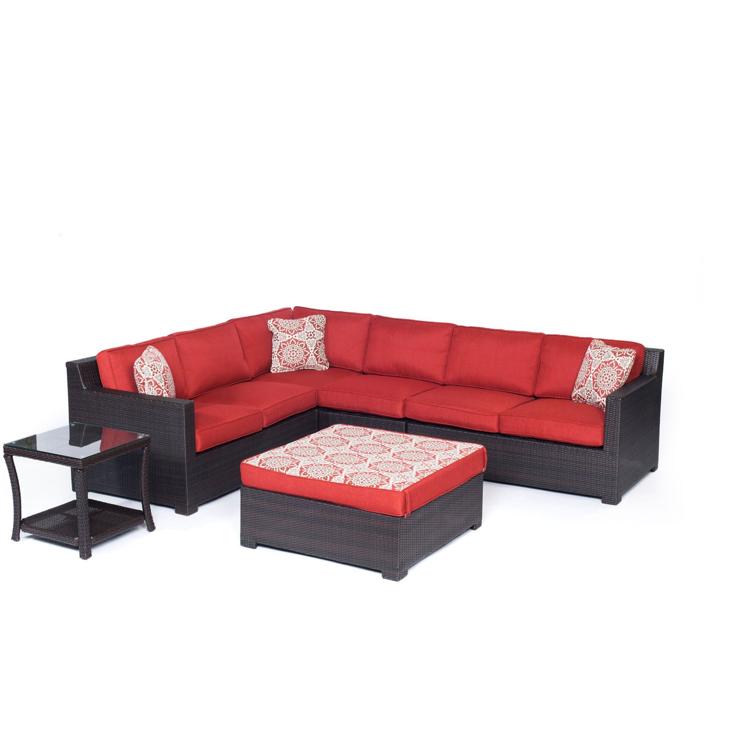 Metro6pc: Loveseat, Corner Chair, Armless Chair, Reversible Ottoman, Side  Table   METRO6PC B BRY