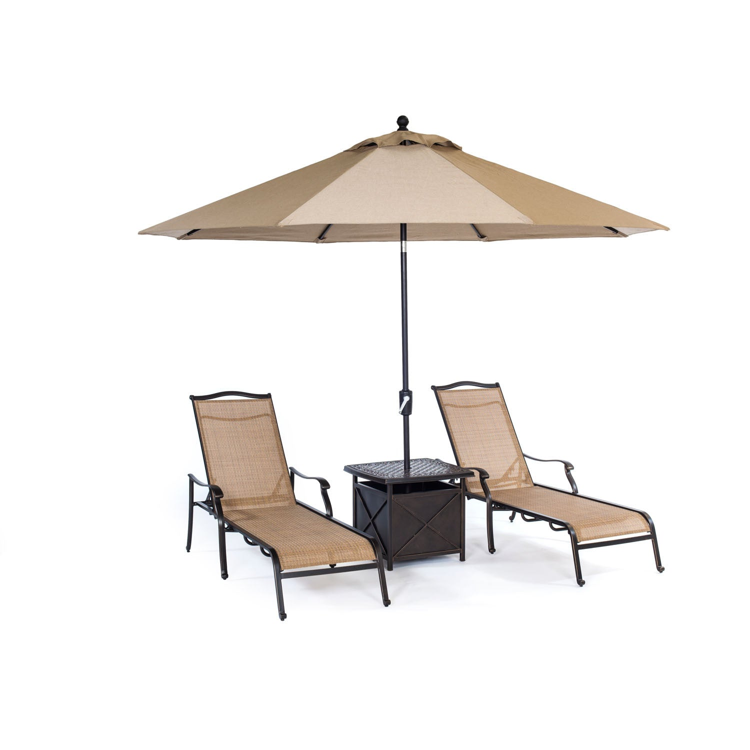 Monaco 4pc Sling Chaise Chair set 2 Chaise Chairs 1 Umbrella