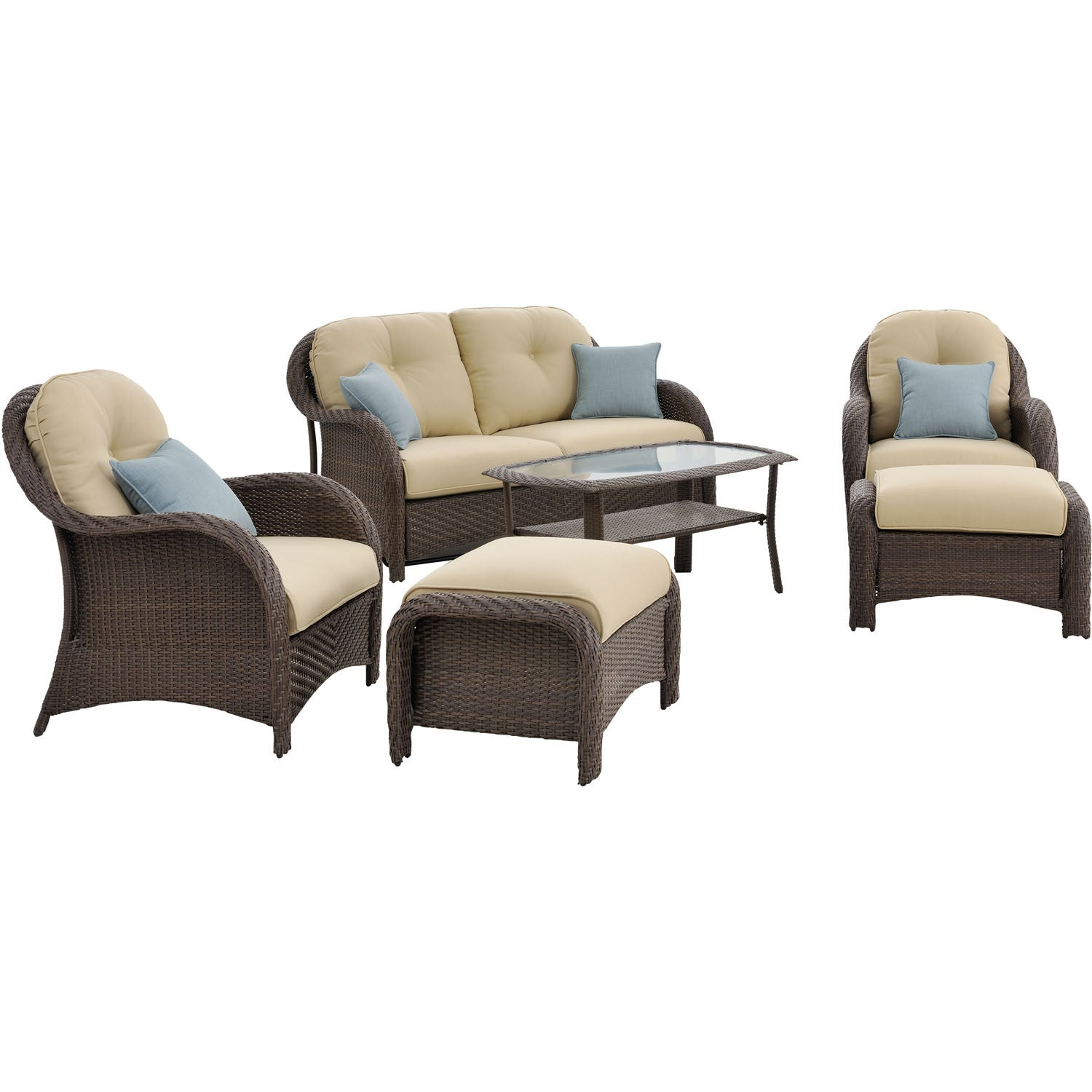 6pc woven deep seating set: loveseat, 2 chairs, 2 ottomans, 1