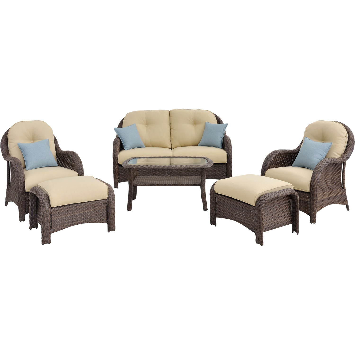 6pc Woven Deep Seating Set: Loveseat, 2 Chairs, 2 Ottomans, 1 Coffee T U2013  BBQDeal.com