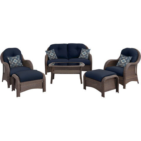 6pc Woven Deep Seating Set: Loveseat, 2 chairs, 2 ottomans, 1 coffee table - NEWPORT6PC-NVY - Gray/Navy