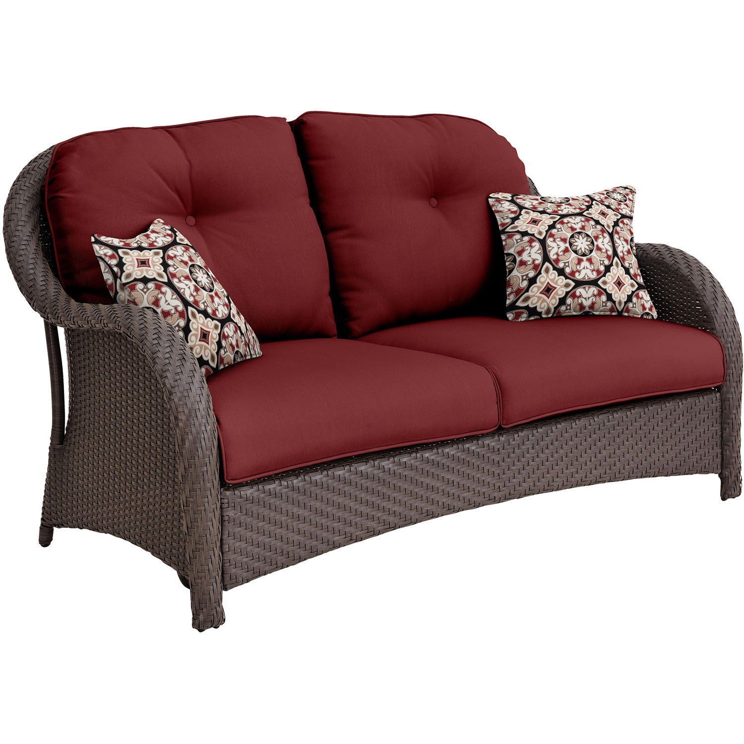 6pc Woven Deep Seating Set: Loveseat, 2 Chairs, 2 Ottomans, 1 Coffee Table    NEWPORT6PC RED   Gray/Crimson Red