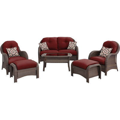 6pc Woven Deep Seating Set: Loveseat, 2 chairs, 2 ottomans, 1 coffee table - NEWPORT6PC-RED - Gray/Crimson Red