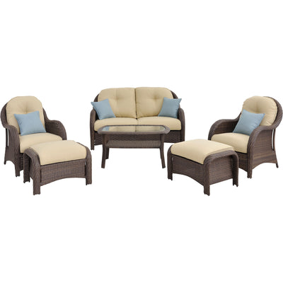6pc Woven Deep Seating Set: Loveseat, 2 chairs, 2 ottomans, 1 coffee table - NEWPORT6PC - Gray/Cream