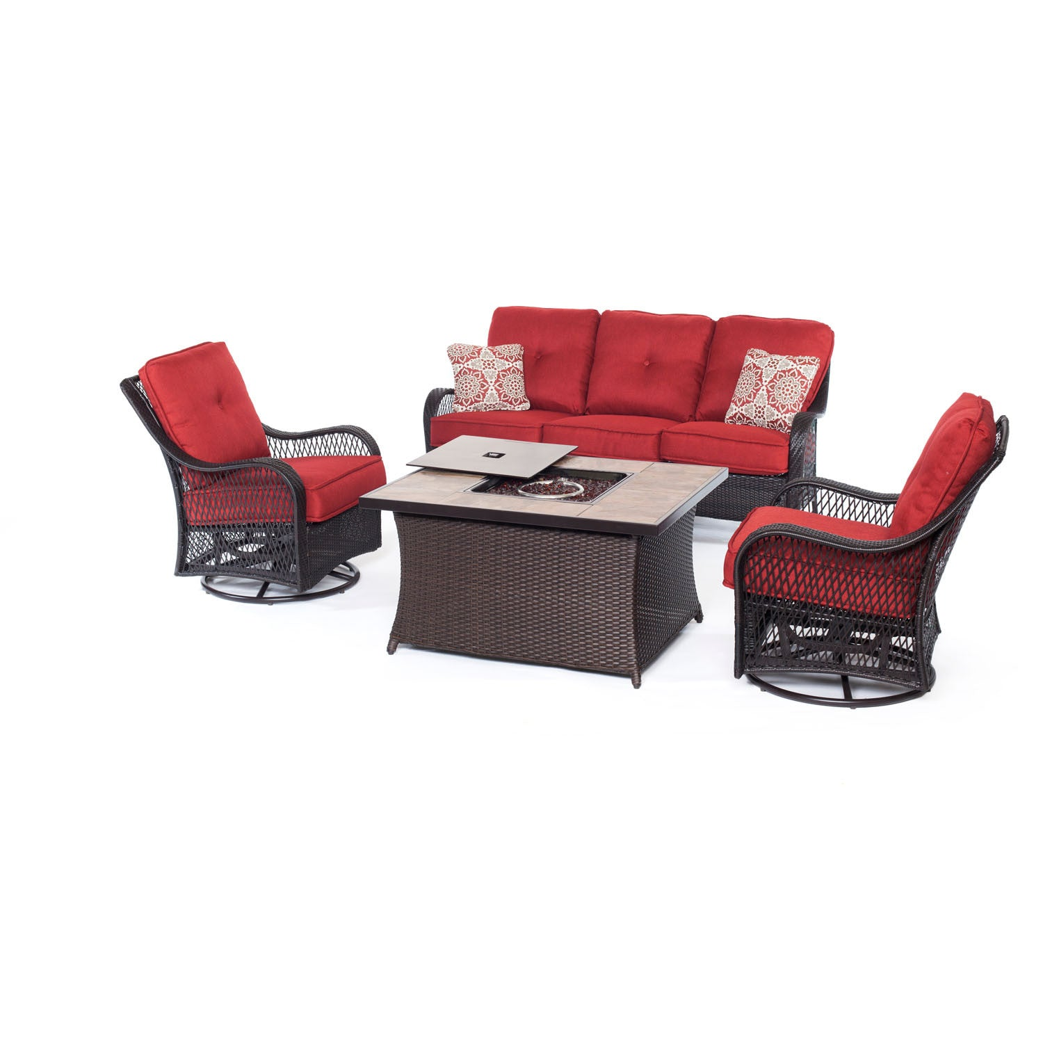 Orleans fp seating set 2 swivel gliders sofa fire pit coffee table bbqdeal com
