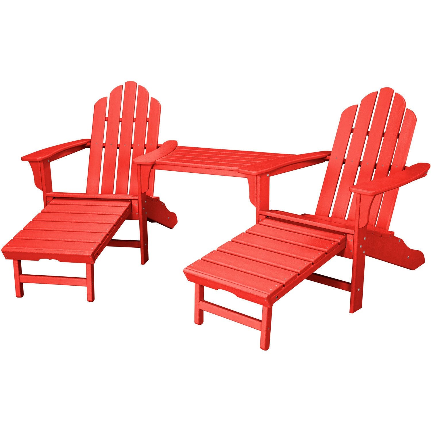 Hanover All Weather Rio 3pc Tete A Tete: 2 Adirondack Chair W/ Ottoman,  Tete A Tete Table   RIO3PC OTT SR   Sunset Red