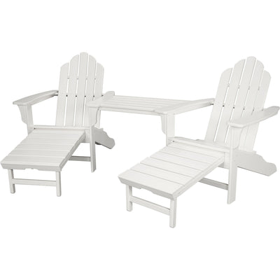 Hanover All-Weather Rio 3pc Tete-a-Tete: 2 Adirondack Chair w/ Ottoman, Tete-a-Tete Table - RIO3PC-OTT-WH - White