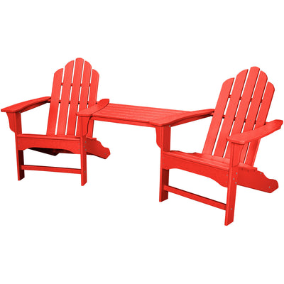 Hanover All-Weather Rio 3pc Tete-a-Tete: 2 Adirondack Chairs, Tete-a-Tete Table - RIO3PC-SR - Sunset Red