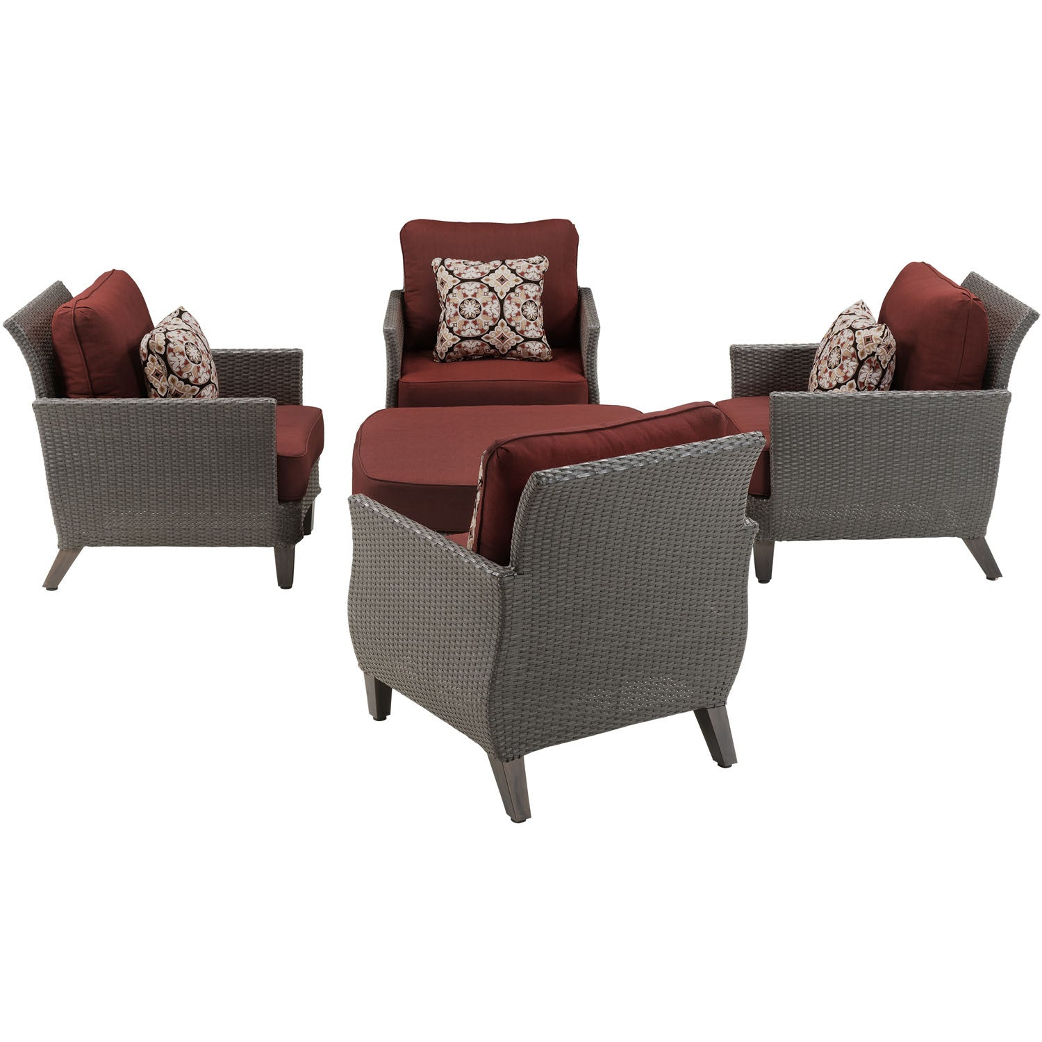 Stupendous Savannah 5Pc Seating Set 4 Oversized Chairs One Woven Cushion Ottoman Sav 5Pc Red Grey Crimson Red Bralicious Painted Fabric Chair Ideas Braliciousco