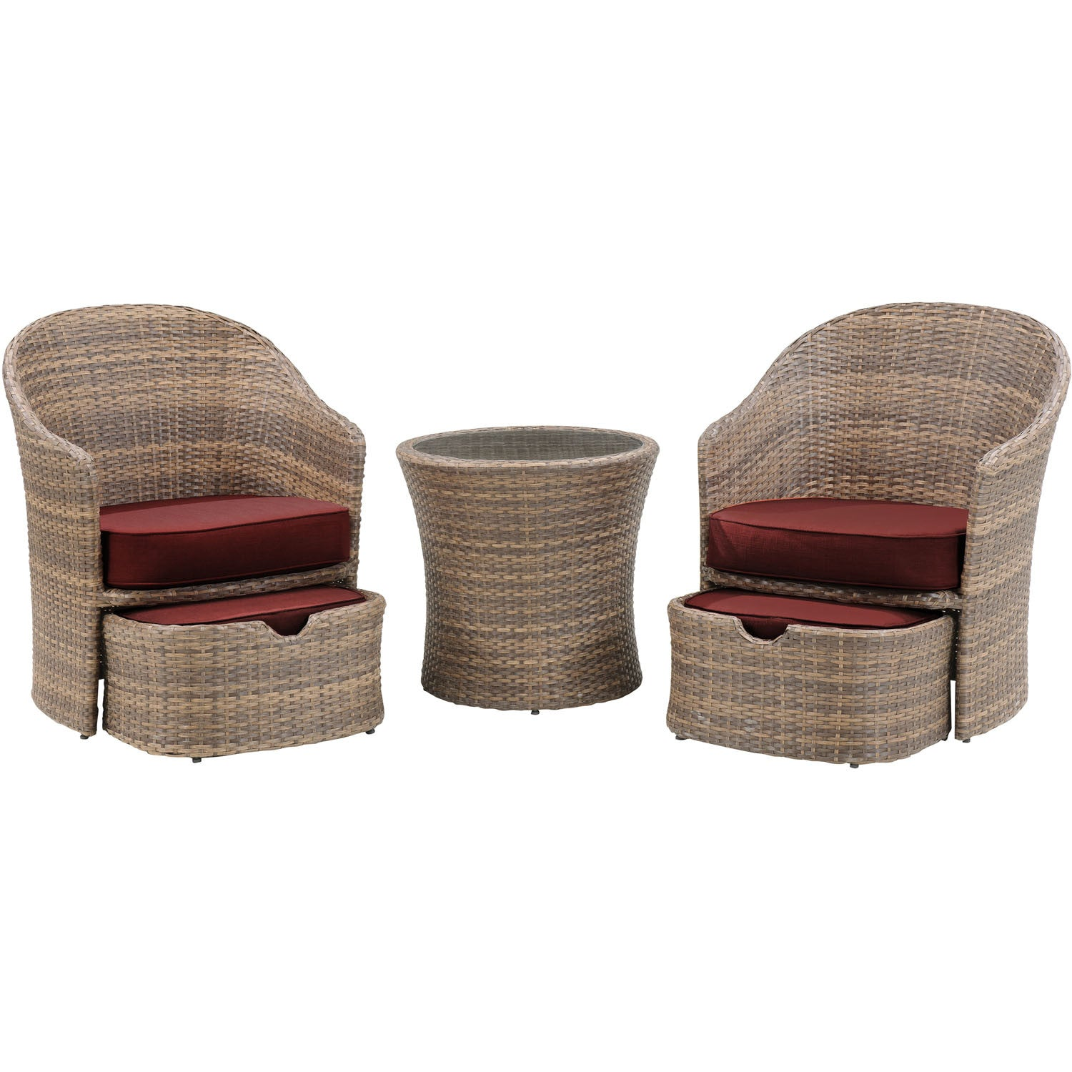 Seneca 5pc seating set 2 woven chairs 2 ottomans 1 woven side table bbqdeal com