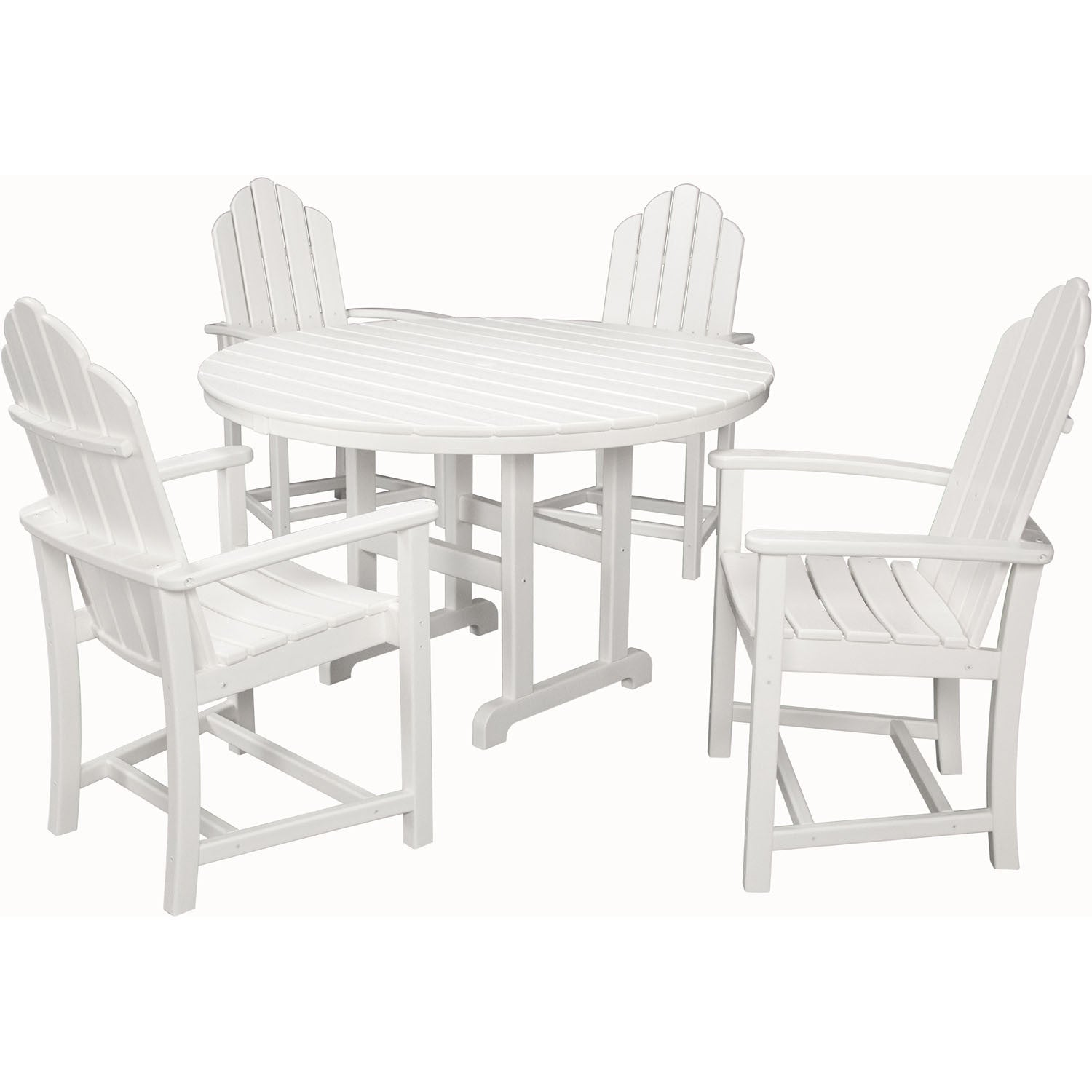 Hanover All-Weather Siesta Key 5pc Dining Set: 4 Adirondack Dining Chairs,  Table - SIESTAKEY5PC - White - Hanover All-Weather Siesta Key 5pc Dining Set: 4 Adirondack Dining