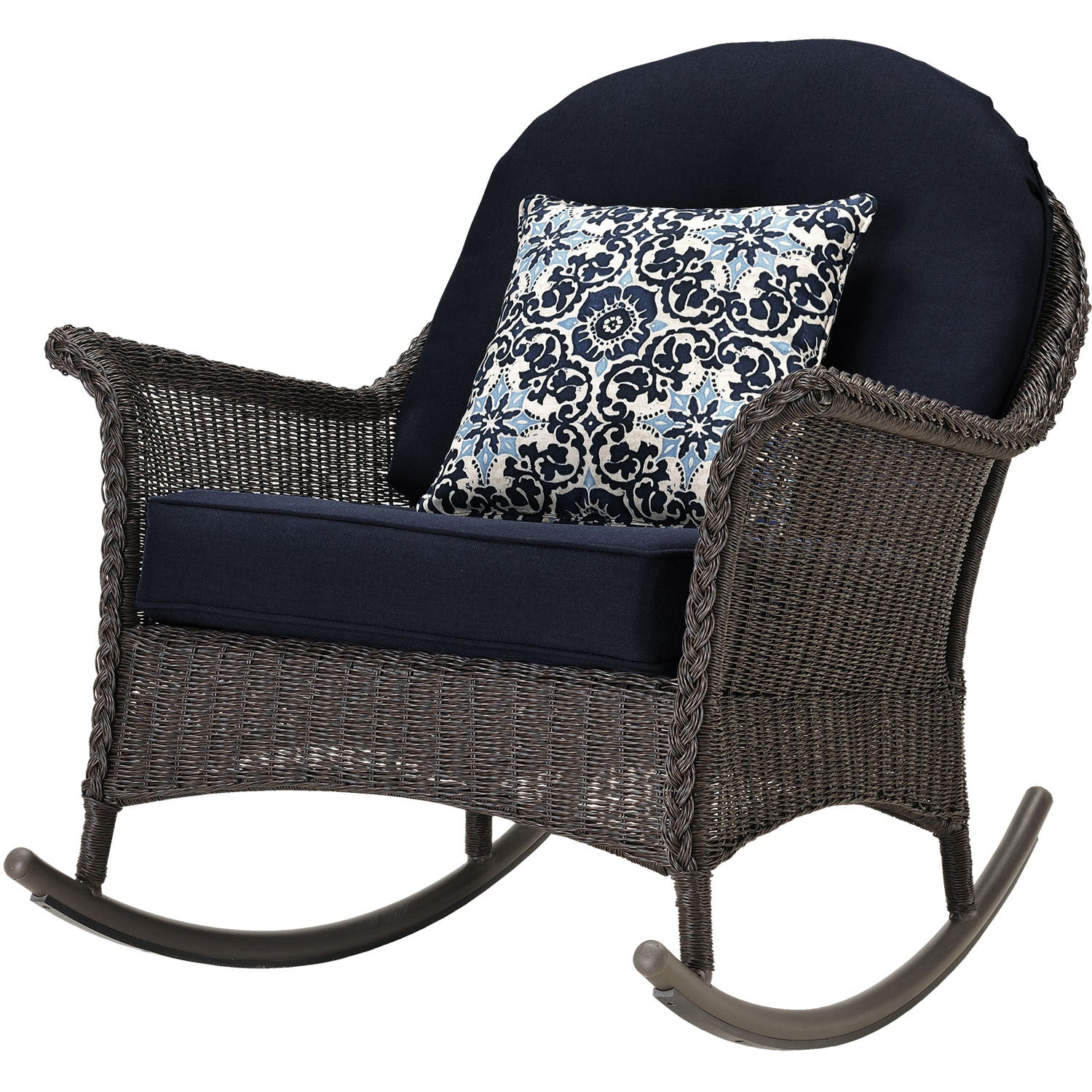 San Marino 3pc Set: 3 Woven Rocking Chairs, One Side Table   SMAR 3PC NVY    Brown/Navy