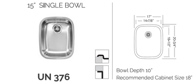 "UN376  15"" Single Sink Bowl - Universal Mount"