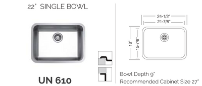 "UN610  22"" Single Sink Bowl - Universal Mount"