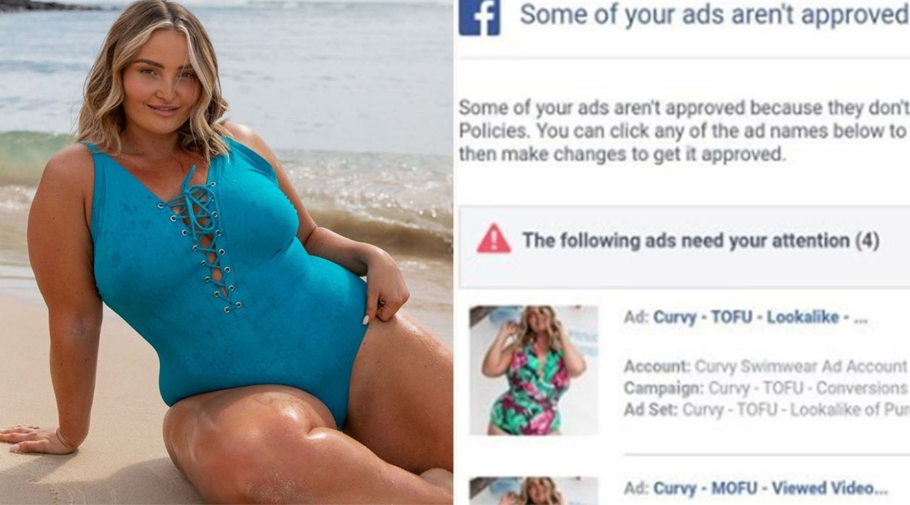 Curvy Swimwear featured in 9Honey article about rejected Facebook ads