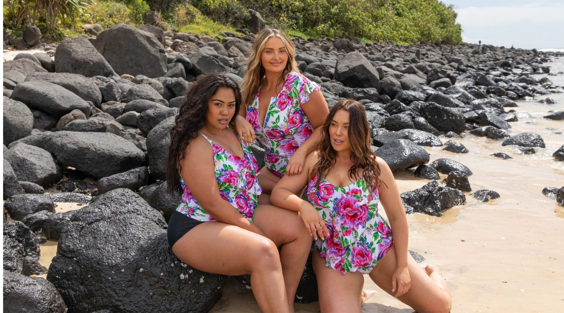 Women wearing plus size swimwear