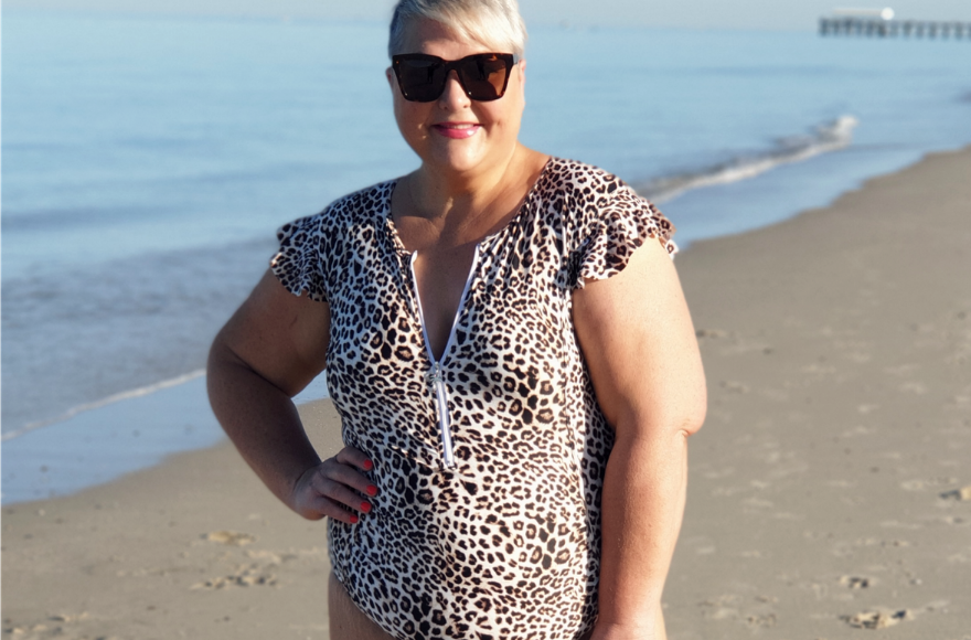 Jenni Eyles in Leopard Frill Sleeve One Piece