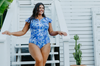 Hawaii Blue Frill Sleeve Plus Size One Piece