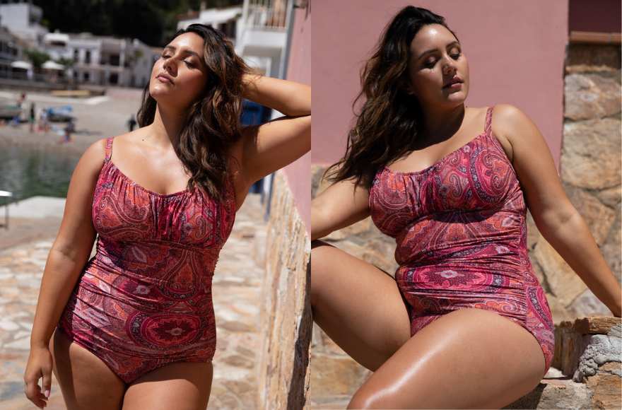 Model wears Ruched One Piece Swimsuit