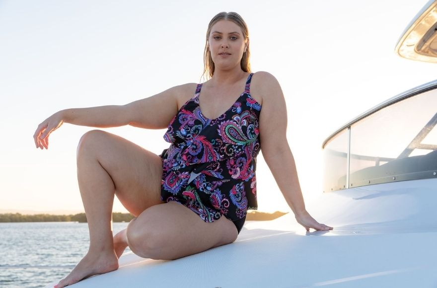 Woman wearing retro tankini