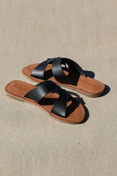 Chapel Black Leather Sandal