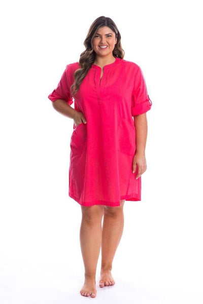 pink plus size swim cover up dress