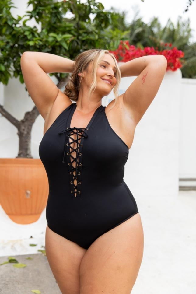 Lace Up One Piece Black