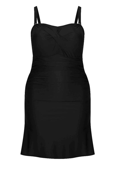 Black Twist Front Bandeau Swim Dress (No Pant)