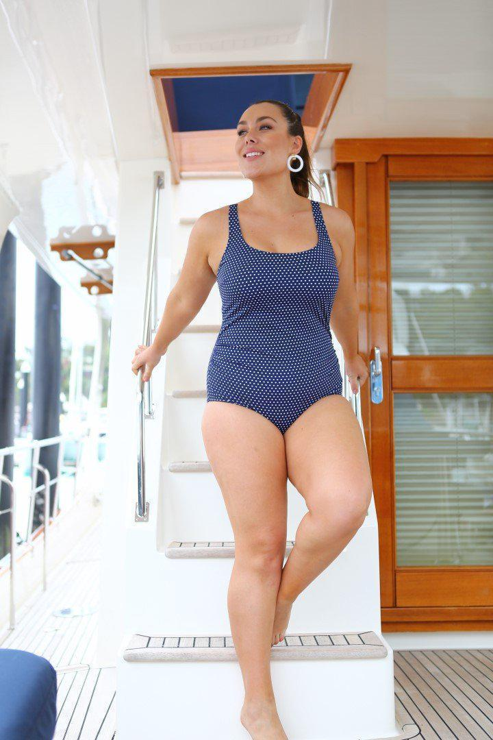 Chlorine Resistant Navy & White Dots Tank One Piece