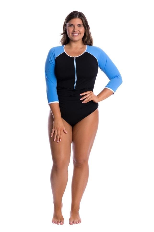 zip front one piece swimsuit