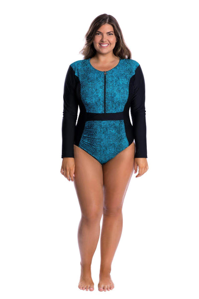 Turquoise Snake | High Neck One Piece Swimsuit Plus Size