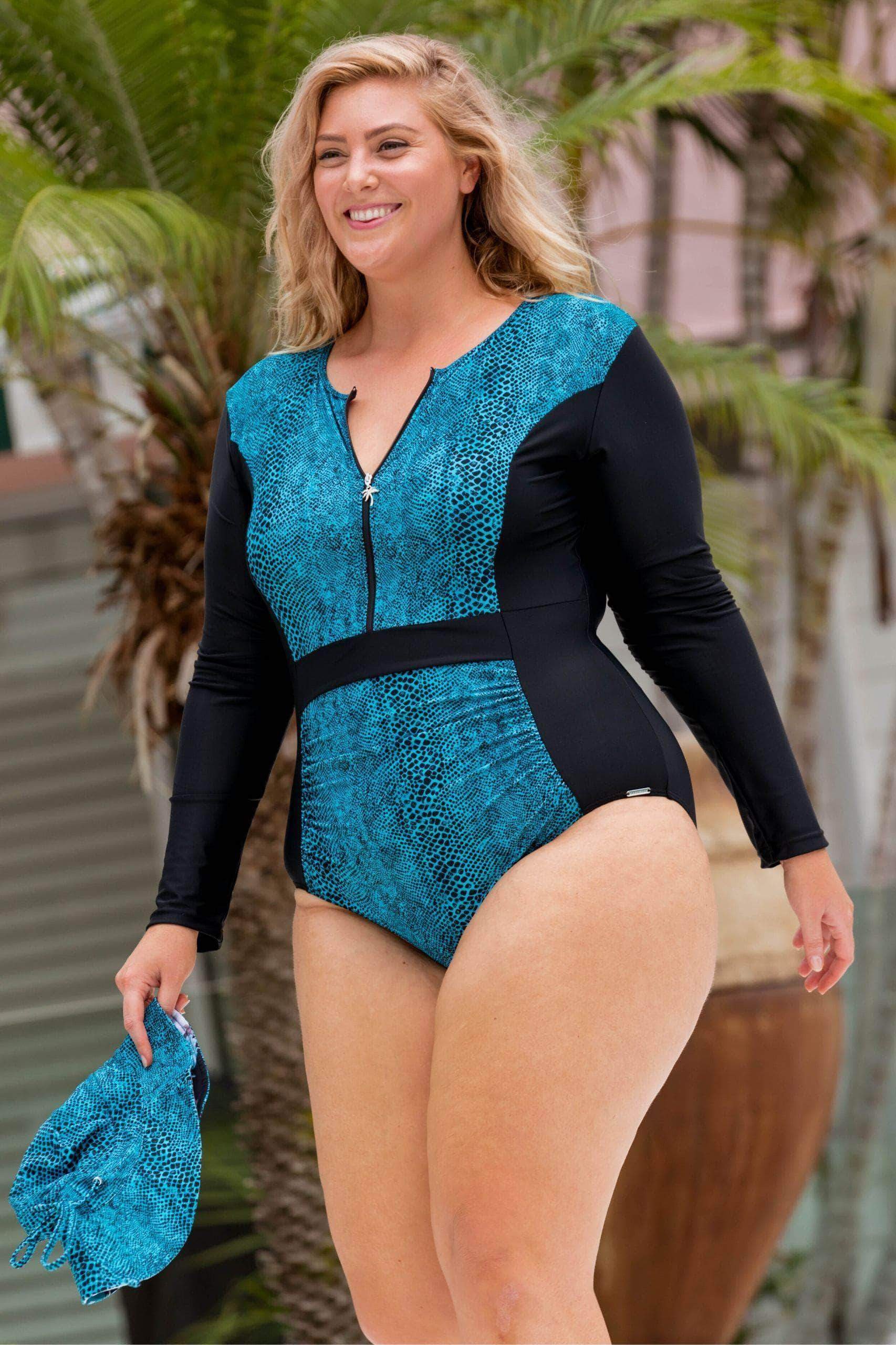 One Piece Zip Swimsuit Long Sleeve | Turquoise Snake